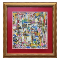 Untitled Colorful Contemporary Expressionist Style Fish Painting
