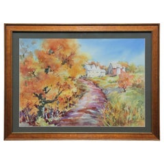 Untitled Italian Rural Fall Landscape Watercolor Painting