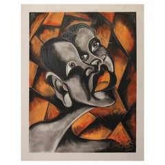 Surrealist Orange Tonal Abstract Portrait