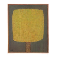 """Autumn"" Modern Minimal Yellow Textured Tree Painting"