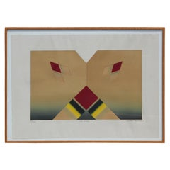 """""""On High"""" Modern Abstract Geometric Lithograph Edition 59 of 125"""
