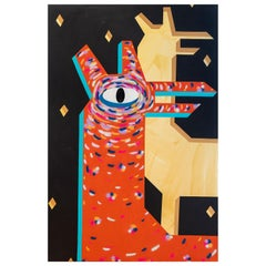 """Night Deer"" Massive Abstract Orange Toned Contemporary Geometric Deer Painting"