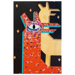 """Night Deer"" Massive Abstract Orange Toned Contemporary Geometric Deer Painting"