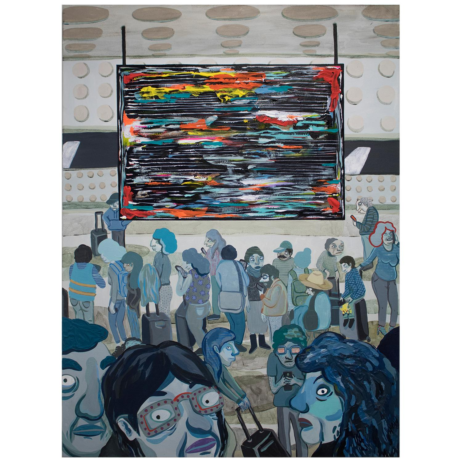 """""""Departures"""" Large Abstract Contemporary Crowded Airport Portrait Painting"""