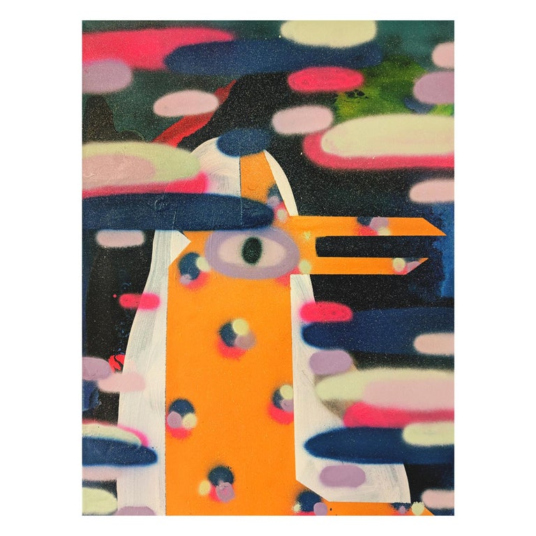 """Cecilia Beaven Abstract Painting - """"Glam Deer"""" Colorful Abstract Contemporary Geometric Deer Painting with Glitter"""