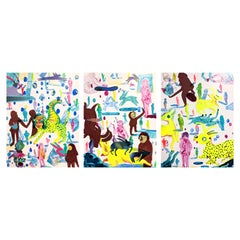 """Rabbits In a Museum"" Colorful Abstract Contemporary Surreal Triptych Painting"