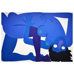 """Blue Self-Portrait"" Massive Abstract Contemporary Surrealist Figure Painting"