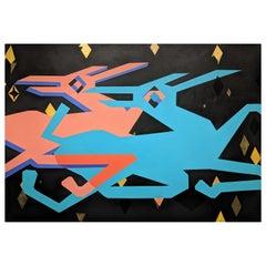 """Cielo de Noche"" Massive Abstract Contemporary Night Sky Geometric Painting"