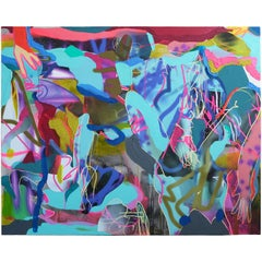 """""""Blue Bodies"""" Large Abstract Contemporary Blue and Pink Figurative Painting"""