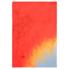 """Orange Monochrome 4"" Large Expressionist Impasto Painting"
