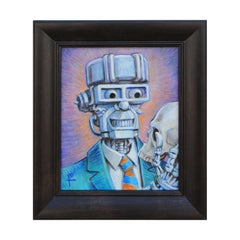 """Dad!?"" Contemporary Surrealist Robot and Skull Painting"