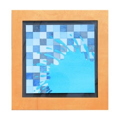 Blue Splat on Checkered Background Watercolor