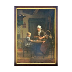 """Midday Meal"" Portrait of Woman and Two Children Seated at Table"