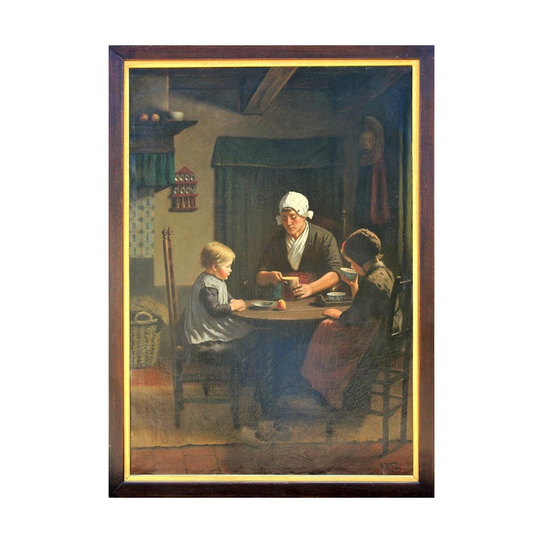"""(In the style of) David Adolf Constant Artz Portrait Painting - """"Midday Meal"""" Portrait of Woman and Two Children Seated at Table"""