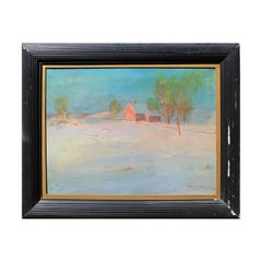 Impressionist Style Rural Pastel Landscape Painting of a House in Snow