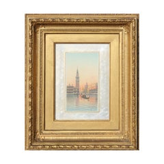 Watercolor Painting of a Sunset over a Venice Seascape
