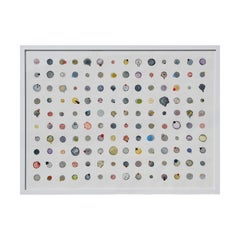 """""""Little Dots #3"""" Watercolor Dot Grid with Geometric Organic Forms Painting"""