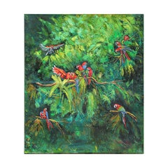 Large Scale Tropical Colorful Parrot Jungle Landscape Oil Painting