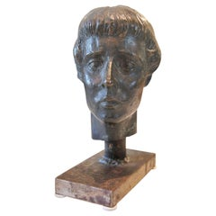 Bronze Realist/Naturalistic Female Portrait Bust of Artist Audra Evert