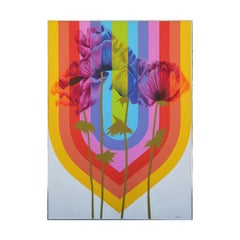 Large Abstract Vintage Colorful Rainbow Painting with Flowers