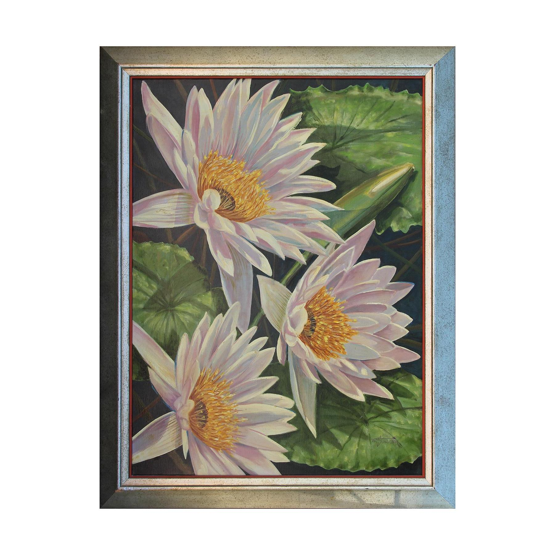 Naturalistic Three White Lotus Waterlilies Still Life Landscape Painting