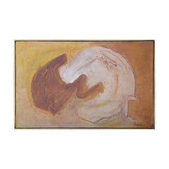 Brown and White Earth Toned Modern Organic Abstract Landscape Oil Painting