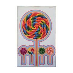 Abstract Surrealist Vintage Colorful Rainbow Lollipop Painting