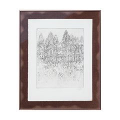 Naturalistic Print Etching of the Khajuraho Indian Heritage Site Monuments