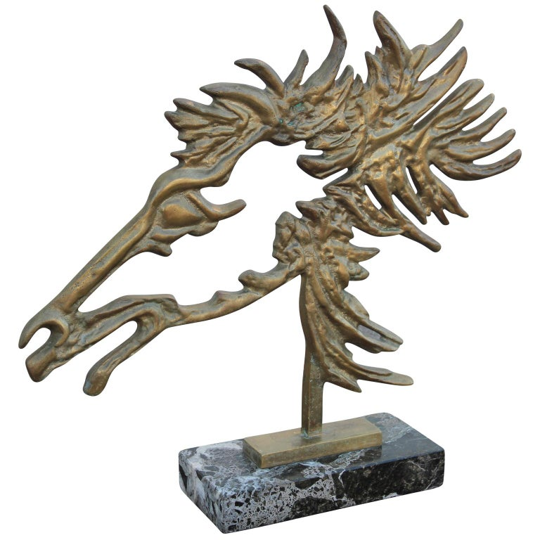 Beautiful free-standing brutalist bronze horse head sculpture with flowing mane and a marble base done in the style of Philippe Cheverny's sculpture