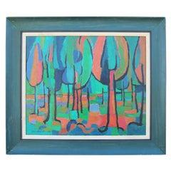 Modernist Blue and Orange Toned Impressionist Tree Landscape
