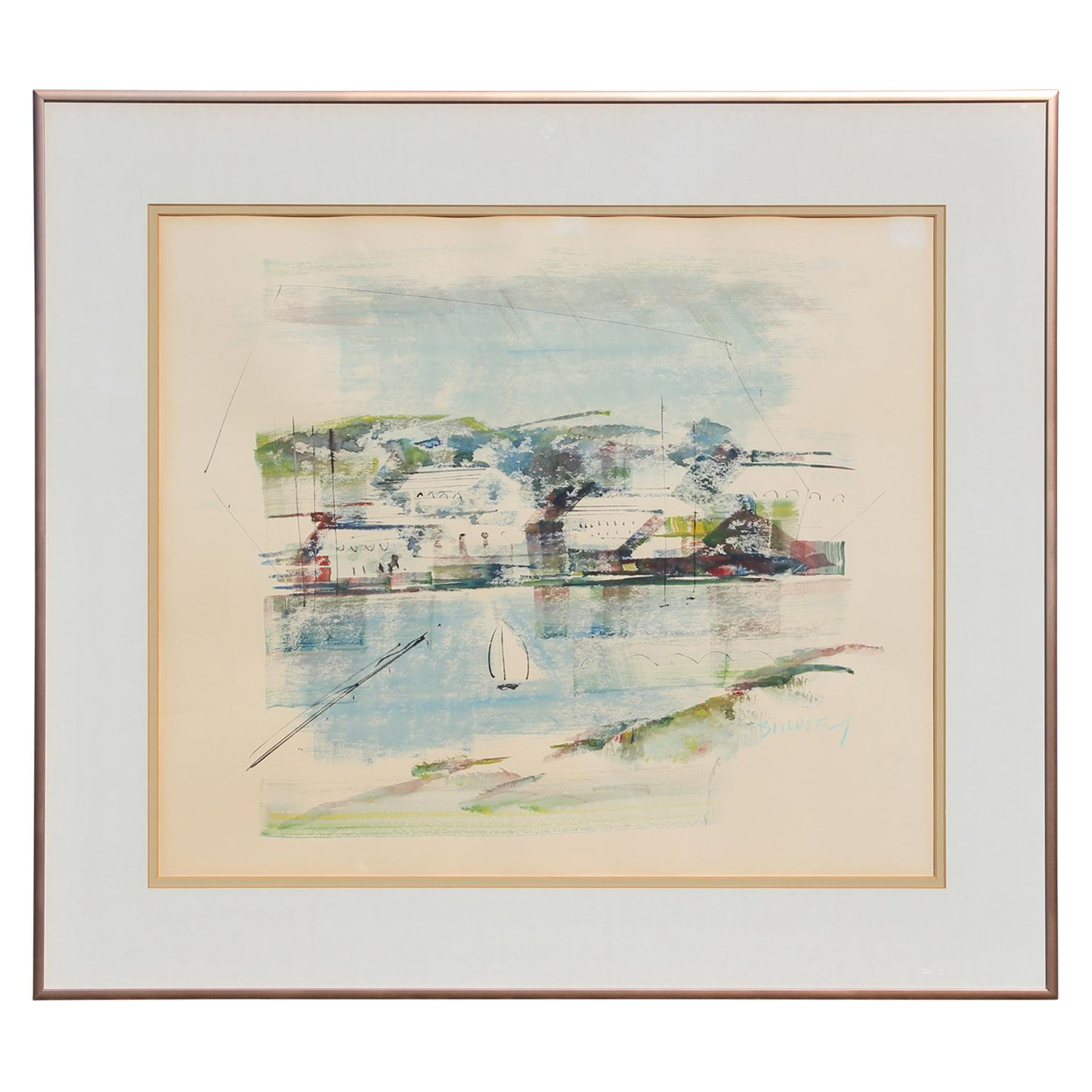 Abstract Impressionist Watercolor Tropical Bermuda Seascape with Sailboat