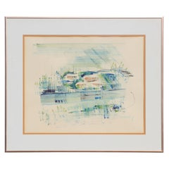 Abstract Impressionist Watercolor Tropical Bermuda Seascape Nautical Port Scene