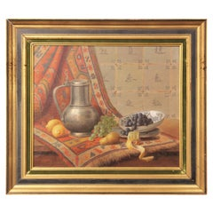 Classical Dutch Interior Still Life Painting of a Water Jug, Fruit, and Tapestry