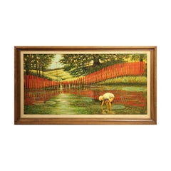 Naturalistic Portrait of a Young Boy by a Red Fence Pastoral Country Painting