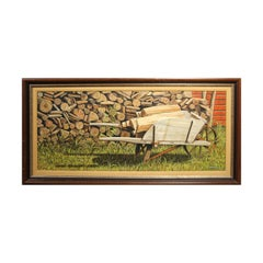 Naturalistic Wood and Wheel Barrow Pastoral Country Still Life Painting