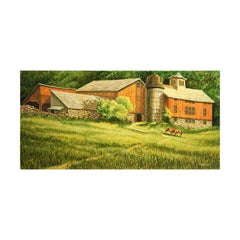 Naturalistic Red Barn and Horses in a Field Pastoral Country Landscape Painting