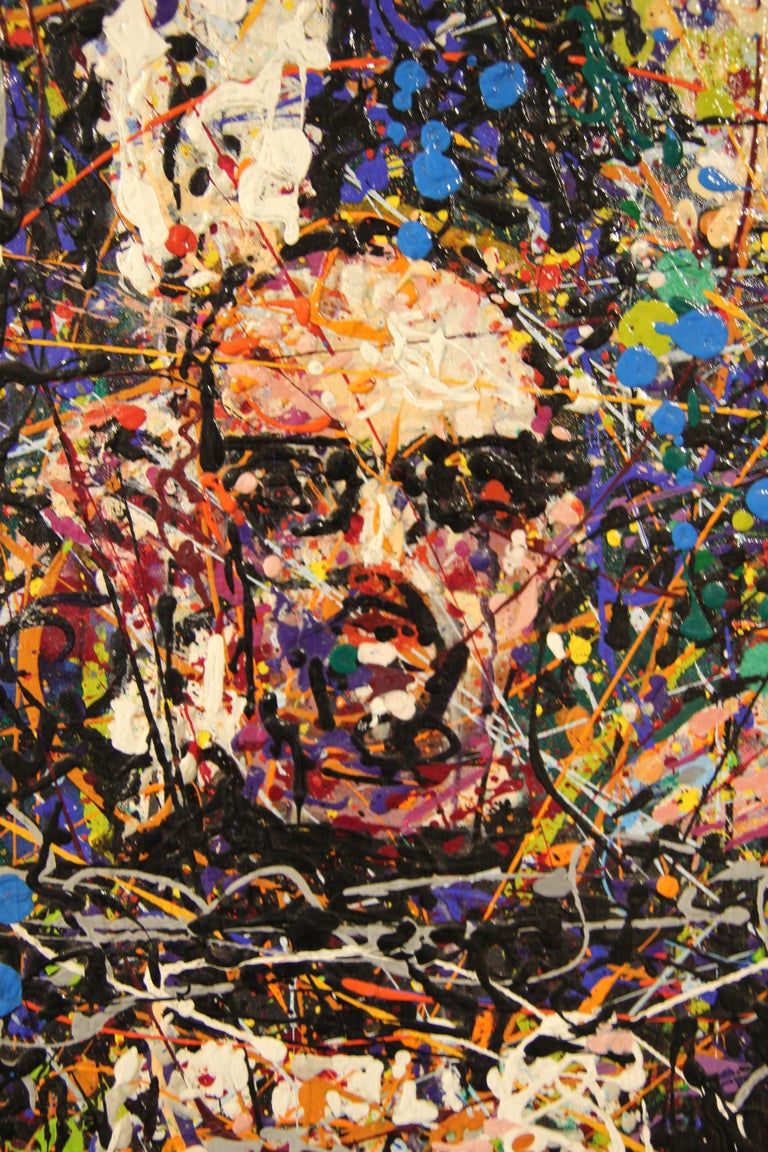 """Large portrait of a friend of the artist, painted in the style of Jackson Pollock/Abstract Expressionism with multiple splattered colors. Signed by artist in lower right corner. Currently unframed, but framing options are available.   """"I painted my"""