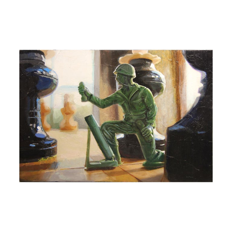 """Matt Aston Still-Life Painting - """"Lone Pawn"""" Soft Still Life Oil Painting of Chess Pieces and Green Army Man"""