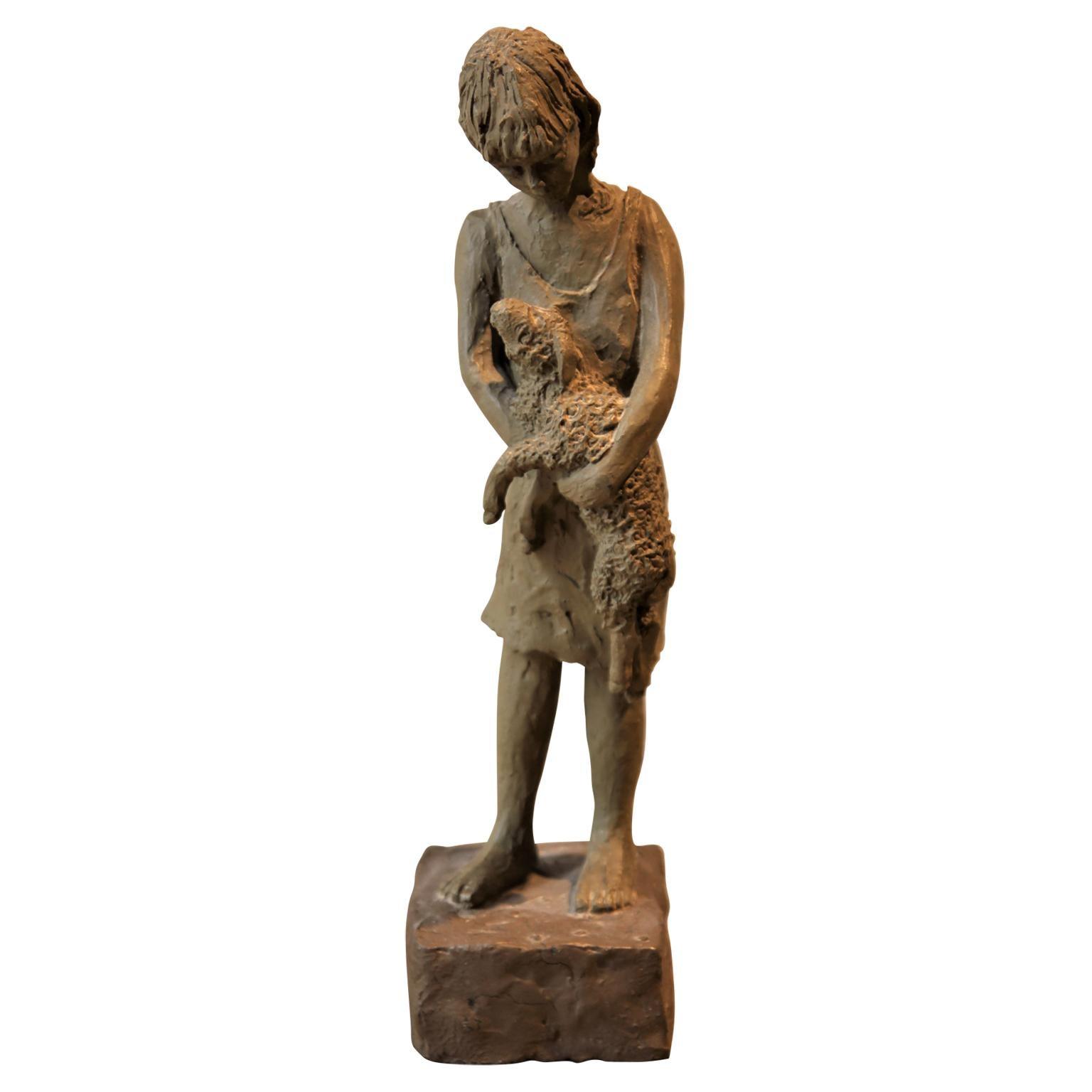 Naturalistic Woman Holding a Calf Sculpture