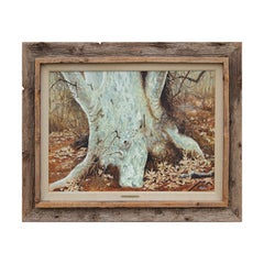 """Gnarled Guardian of Dry Creek"" Naturalistic Forest Tree Stump Painting"