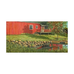 Naturalistic Red Barn and River Pastoral Country Landscape Painting