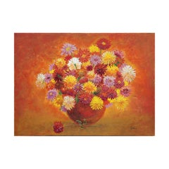 Abstract Orange, Yellow, and Red Floral Still Life Painting