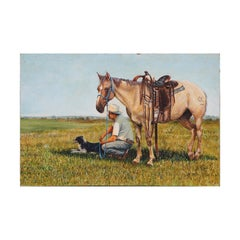 Naturalistic Portrait of a Horse, Man, and Dog in a Field Pastoral Painting