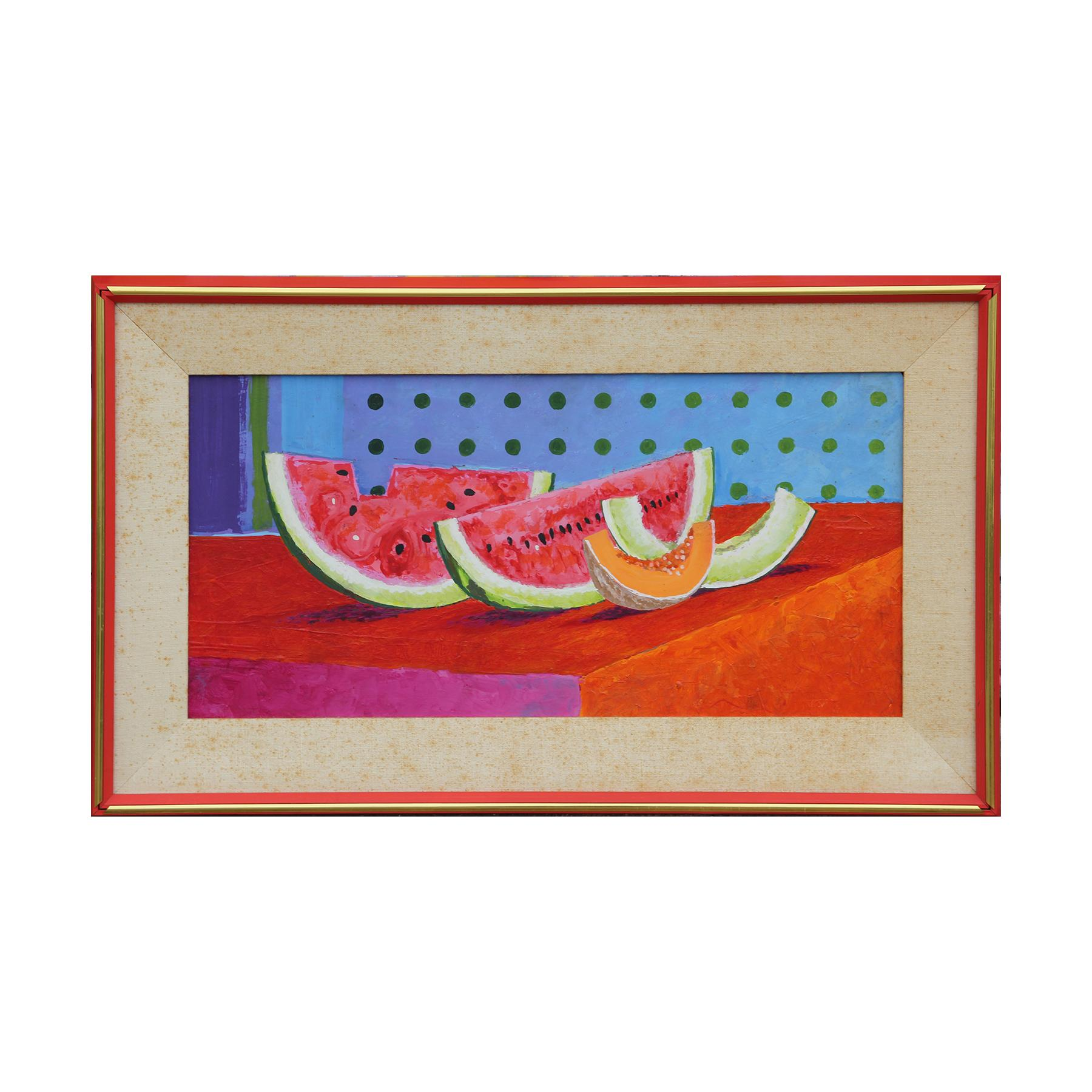 Naturalistic Red and Blue Watermelon Still Life Painting