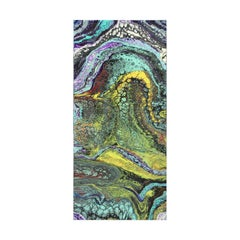 Colorful Abstract Contemporary Teal, Purple and Green Acrylic Fluid Painting