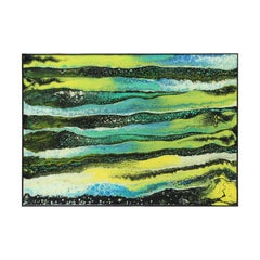 Colorful Abstract Contemporary Green and Blue Lines Acrylic Fluid Painting