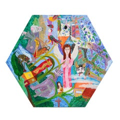 """Celebration of Life"" Colorful Abstract Figurative Hexagon Canvas Painting"