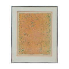 """Rose Field"" Orange and Green Abstract Etching Print"
