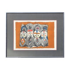 """Deities"" Etching Orange, Blue, and Black Print of 4 Abstract Figures"