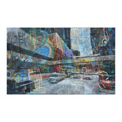 Colorful Large Abstract Graffiti Style Cityscape Splatter Painting on Canvas